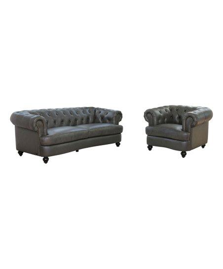 Dark Gray Leather Tufted Sofa & Armchair   Zulily
