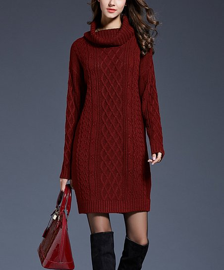 17beec4d654 love this product Red Cable-Knit Sweater Dress - Women
