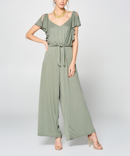 24510eff2caa love this product Sage Ruffle-Sleeve Wide-Leg Jumpsuit - Women