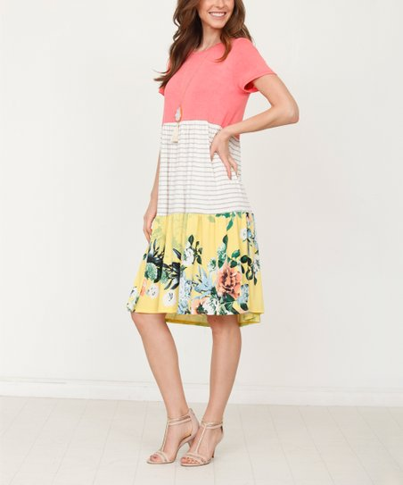 93e09c4c love this product Coral & Yellow Floral Color Block T-Shirt Dress - Women &  Plus