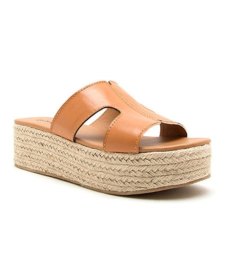 Qupid Cognac Beachie Platform Sandal