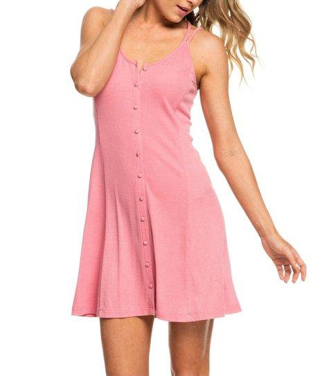 65b732712d8302 Light Pink Button-Front Crisscross V-Neck Sleeveless Shift Dress - Women