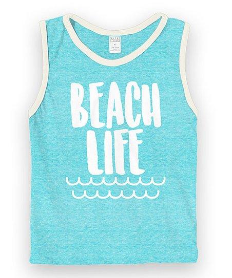 Coming Kids Beachlife.Heather Light Aqua White Beach Life Muscle Tank Toddler