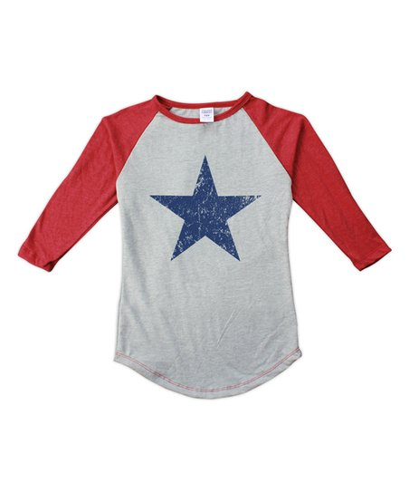 8a0511aca Heather Gray & Red Weathered Star Fitted Raglan Tee - Toddler, Girls & Women