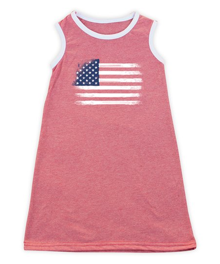 0600fc135 Heather Red & White Weathered Flag Tank Dress - Toddler, Girls & Women
