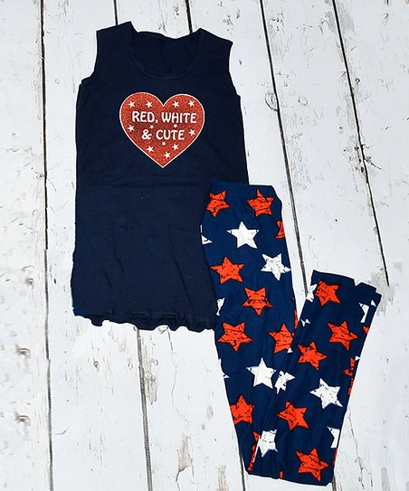 1e29a702fa6ff love this product Navy 'Red White and Cute' Heart Tank & Blue Stars Leggings  - Toddler & Girls