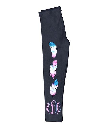 Boho Watercolor Feathers Sport Leggings Full Length