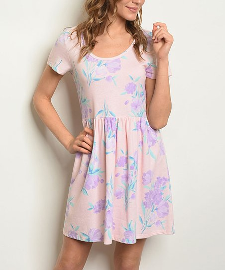 7b6bda6a56a1 love this product Blush & Lavender Floral Scoop Neck Swing Dress - Women