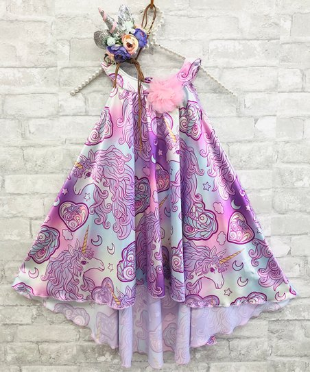 2a4f1b55e7575 love this product Lavender & Pink Unicorn Hi-Low Dress - Toddler & Girls