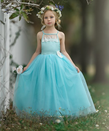 0bd1fa7090 love this product Mint Lace Open-Back Tulle Maxi Dress with Flower Clip -  Toddler & Girls