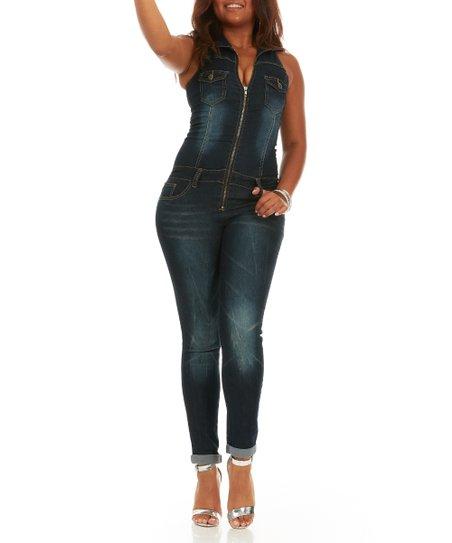 f20e1d371f4 Cover Girl Jeans Classic Blue Slim-Fit Denim Sleeveless Jumpsuit ...