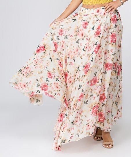 a09a6442a6f8 Fashionomics Cream Floral Chiffon Maxi Skirt - Women | Zulily