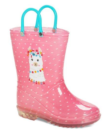 Pink Dot Llama Rain Boot - Girls