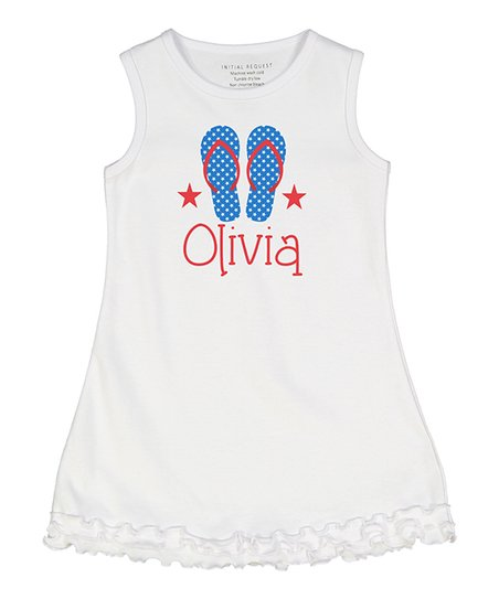 0f580d54d734 love this product White   Blue Star Flip-Flop Personalized Ruffle  Sleeveless Dress - Infant