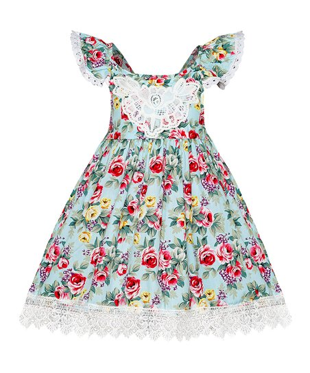 8ad3d2bf8d love this product Blue   Pink Floral Lace-Accent Angel-Sleeve Dress -  Toddler   Girls