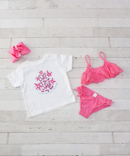 26909051a1e love this product White & Pink 'Salt in the Air' Tee Set - Toddler & Girls