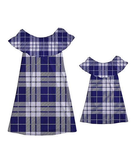 e39b4c6ea1ec love this product Navy Plaid Off-Shoulder Dress - Girls