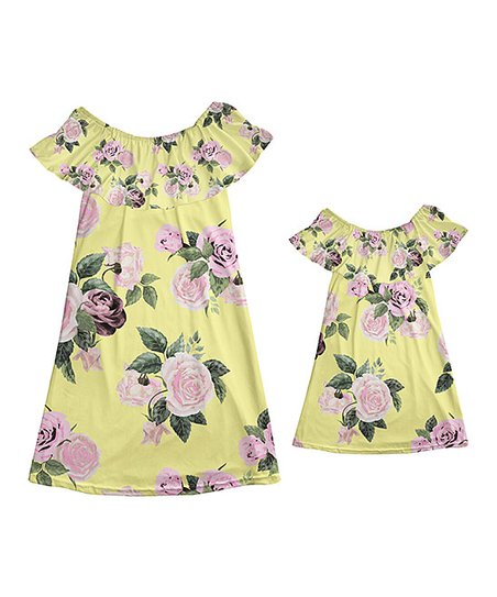 ef89b7a5fa42 love this product Yellow   Pink Rose Off-Shoulder Dress - Girls