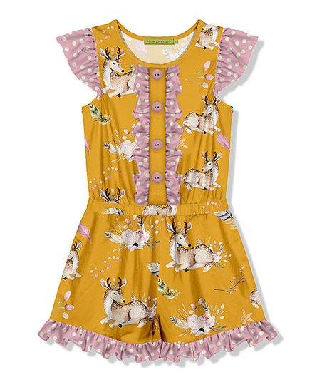 0b2295398 Millie Loves Lily Marigold Deer Button-Front Romper - Toddler ...