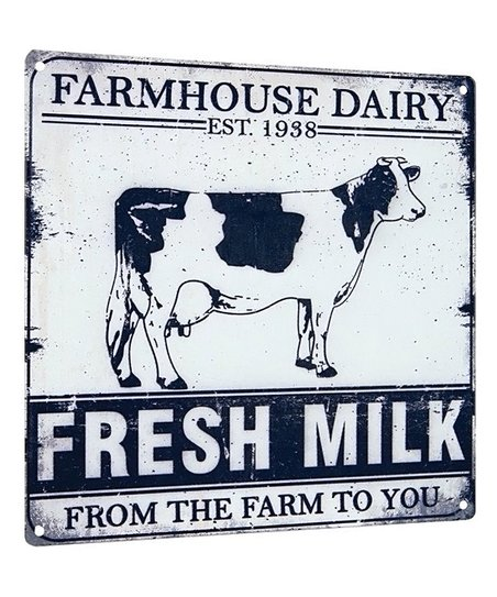 New Farmhouse Dairy Fresh Milk From the Farm to You Metal Sign Cow Advertising