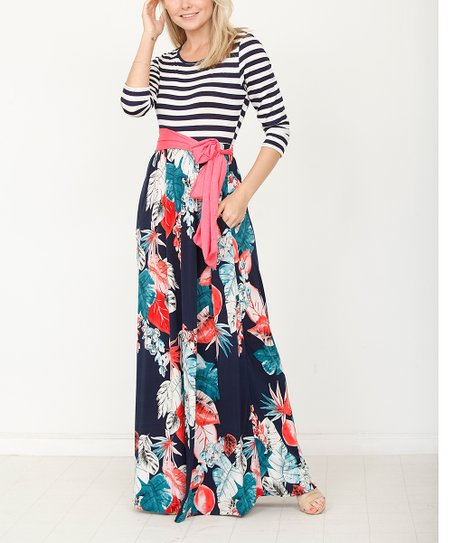 214374df614 love this product Navy Stripe Tropical Leaf Waist-Tie Maxi Dress - Women    Plus