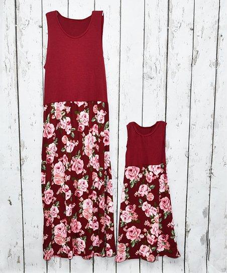 b8c7f28c33c1 love this product Burgundy & Pink Floral Maxi Dress - Toddler, Girls, Women  & Plus