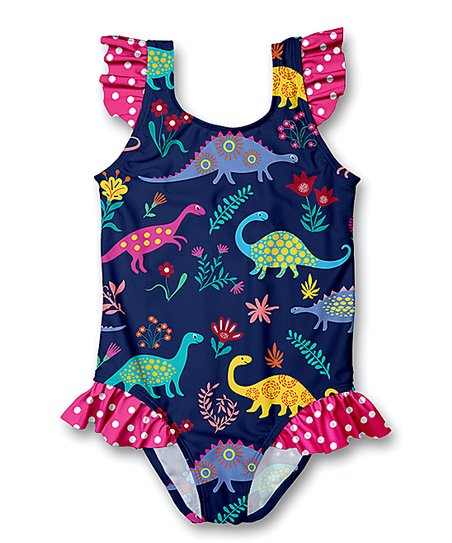19e6ac6842 love this product Navy Dinosaur Ruffle-Accent One-Piece Swimsuit - Infant