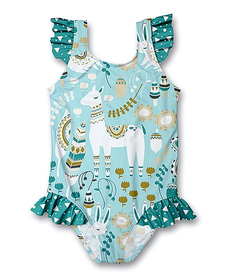 64106ccf456df love this product Teal Llama Ruffle-Accent One-Piece Swimsuit - Infant,  Toddler & Girls