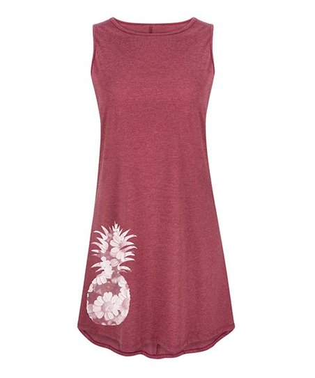 a53709ca50f5 Instant Message Womens Heather Wine Floral Pineapple Shift Dress ...