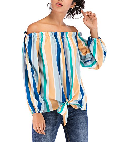 c642ed4e61f2cf love this product Blue   Yellow Stripe Tie-Front Off-Shoulder Top - Women
