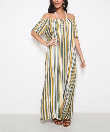 ca369e7a7c1a love this product Ecru   Khaki Stripe Off-Shoulder Maxi Dress - Women