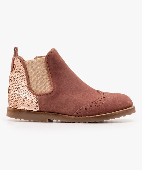 Mini Boden Brown Sequin Leather Chelsea Boot Girls