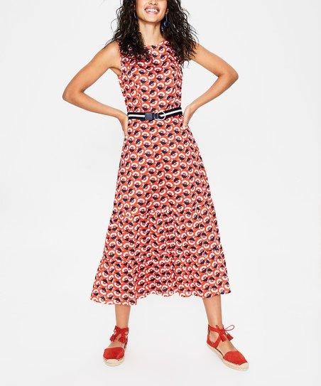 Boden Blood Orange Floral Thea Midi Dress Women Zulily