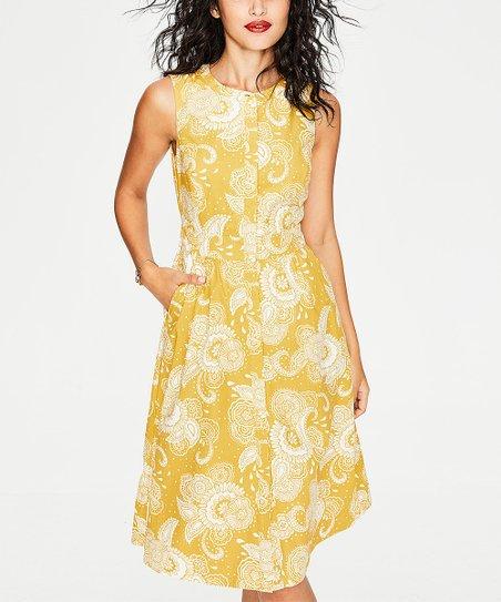 b59ab5feac love this product Mimosa Yellow Paisley Garden Leila Shirt Dress - Women