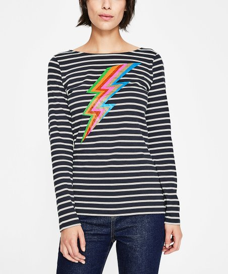 e7f3171c9a love this product Navy Lightning Bolt Fun Breton Tee - Women