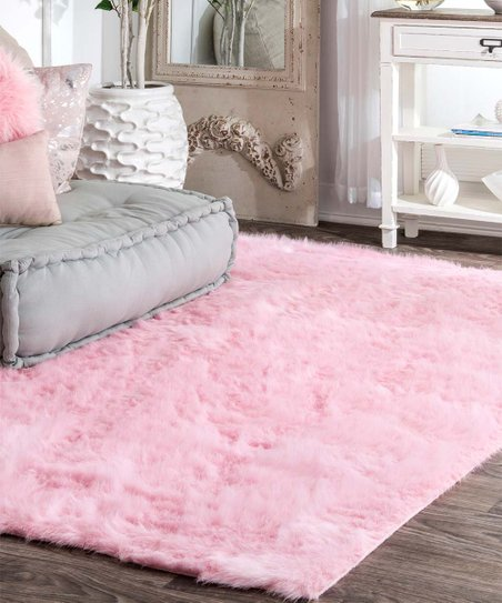 Pink Cloud Faux Fur Rug & Rug Pad