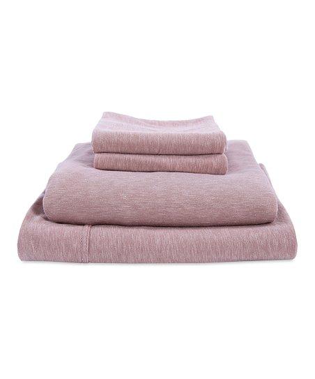 Berkshire Blanket Warm Taupe Slub Knit Jersey Cotton Rich Sheet Set