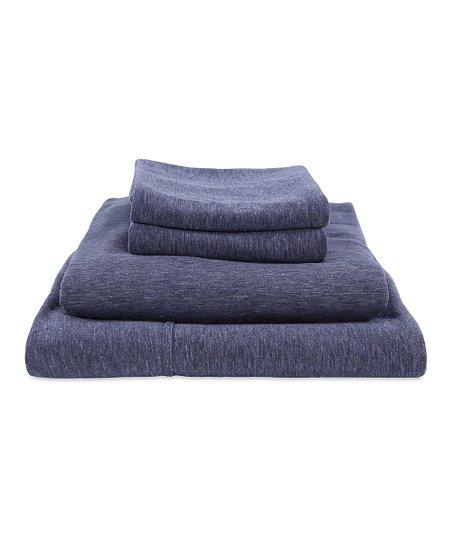 Berkshire Blanket Galaxy Blue Slub Knit Jersey Cotton Rich Sheet Set