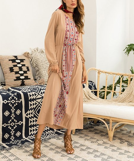 ad14ca10c0 Chateau Amour Beige & Red Floral Maxi Dress - Women & Plus | Zulily
