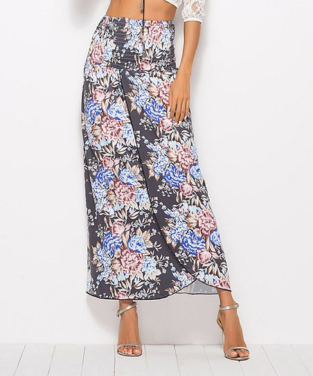 fb579866fc Chateau Amour Black Floral Tulip-Hem Maxi Skirt - Women