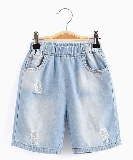 6d9ba5088e Aimama Light Denim Blue Elastic-Waist Frayed Jean Shorts - Toddler ...