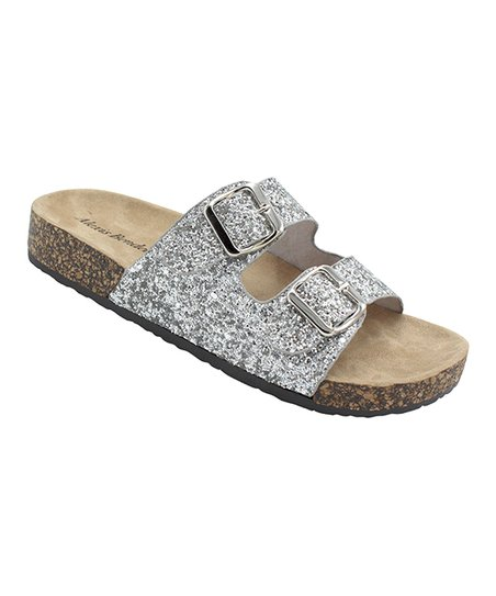 7dd6aeac7e08 love this product Silver Glitter Kylie Buckle-Strap Slide - Women