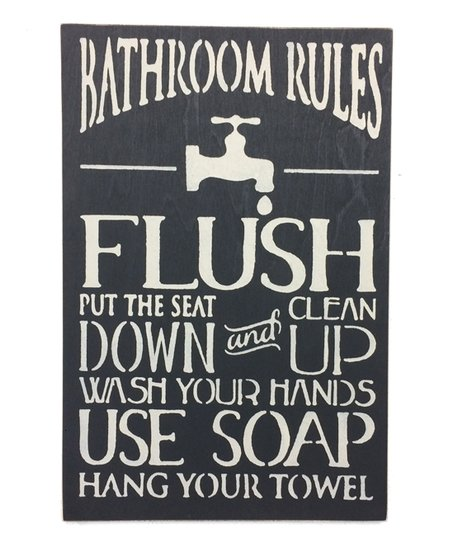 Outstanding Saras Signs Charcoal Bathroom Rules Wall Sign Download Free Architecture Designs Sospemadebymaigaardcom
