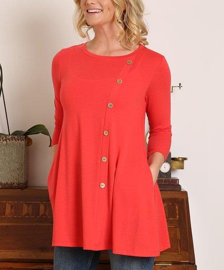 da6959c9c527f8 Shop Basic USA Red Button-Accent Three-Quarter Sleeve Tunic - Women ...