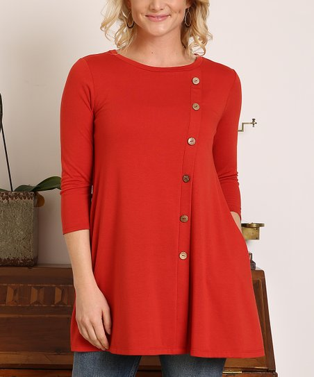 b5002879e66f1b love this product Brick Button-Accent Three-Quarter Sleeve Tunic - Women
