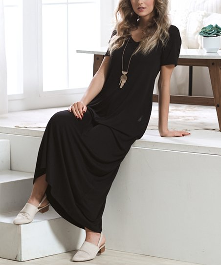 9bc2079aa6c love this product Black V-Neck Short-Sleeve Side-Pocket Maxi Dress - Women    Plus
