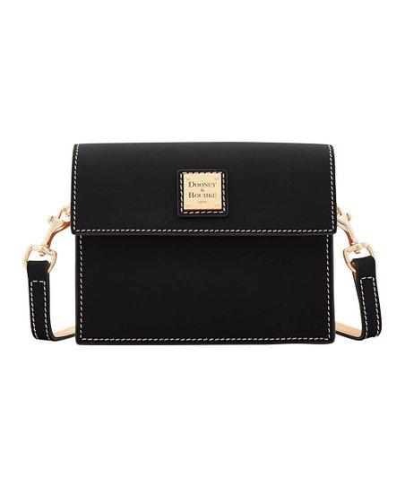 5657129969b Dooney & Bourke Black Mini East/West Flap Leather Crossbody Bag | Zulily