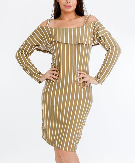 9012a57ba512 SBS Fashion Light Olive   White Stripe Ruffle Off-Shoulder Dress ...