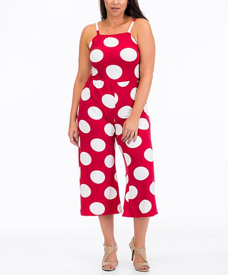 5e8e9fe3d14 love this product Red Polka Dot Gaucho Jumpsuit - Plus