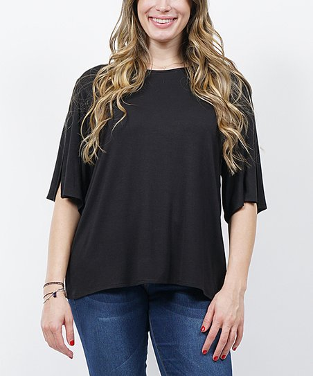 1ec57facbb1 42POPS Black Split-Sleeve Cape Tunic - Plus | Zulily